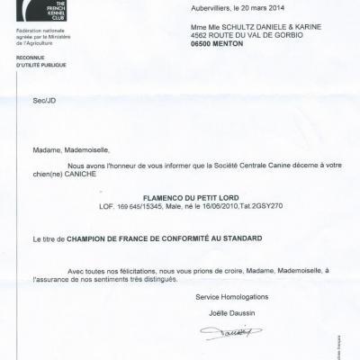 Flamenco - Homologation Champion de France