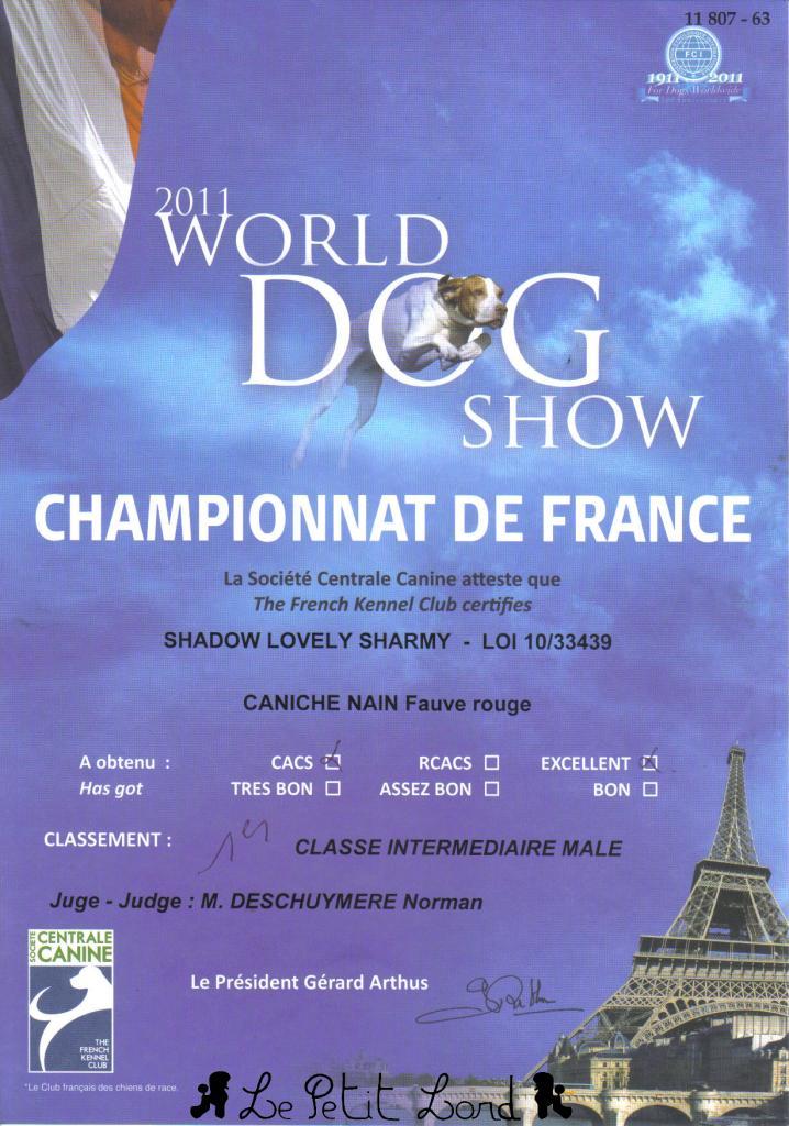 Shadow - Diplôme Champion de France le 10.07.11